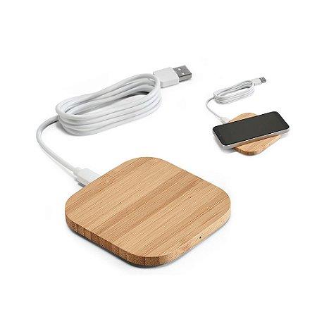 Carregador wireless Bambu Input: 5V/2A Potência máxima de carregamento de 5W Incluso cabo USB/micro USB de 1 m para carregar Compatível com smartphones com tecnologia de carregamento sem fios