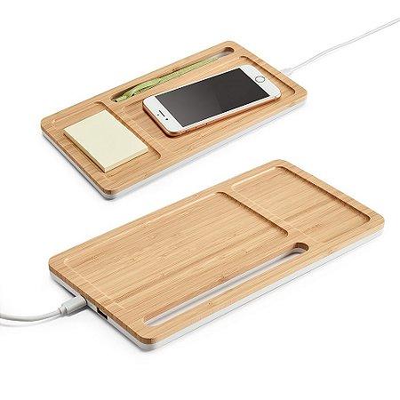 Organizador de Secretária Bambu e ABS Carregador wireless, hub USB e suporte para celular Entrada 5V/15A