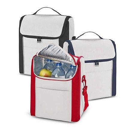 Bolsa térmica 600D Com alça ajustável em webbing e bolso frontal Capacidade até 12 litros Food grade
