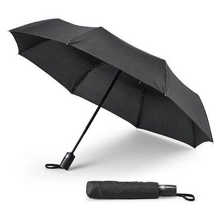 Guarda-chuva dobrável Pongee 190T Pega revestida a borracha À prova de vento Dobrável em 3 secções Abertura e fecho automático Fornecido em bolsa