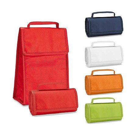 Bolsa térmica dobrável Non-woven: 80 g/m² Fecha com velcro Fornecida desdobrada Capacidade até 3 litros Food grade