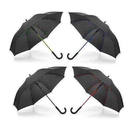 Guarda-chuva Pongee 190T Varetas em fibra de vidro e pega revestida a borracha À prova de vento Abertura automática