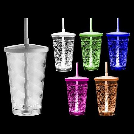 NP - COPO EUPHORIA LED BRANCO OU MULTICOLOR 700ML Copo em PS Cristal, tampa em PP e LED Branco ou  Multicolor.