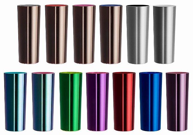 NP - Copo Long Drink Metalizado Colorido 270 ml em PS cristal com metalização