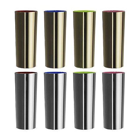 NP - Copo Long Drink Metalizado Prata e Dourado 270 ml em PS cristal com metalização