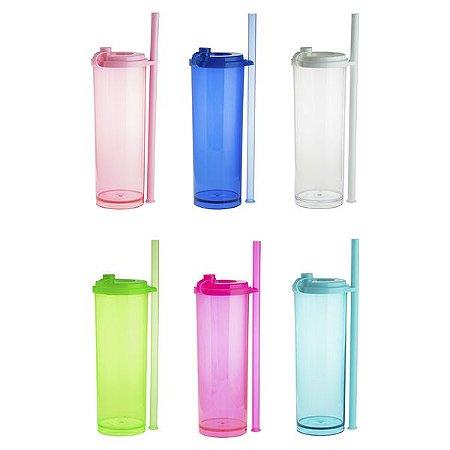NP - LONG DRINK SKY 330ML Copo Long Drink em PS Cristal com diversas cores, tampa com fecho para transporte e suporte para o canudo com anel travador