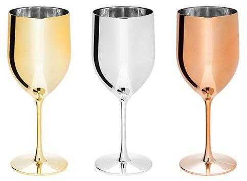 NP - Taça de vinho Gênova Metalizada 400ml em PS cristal com metalização