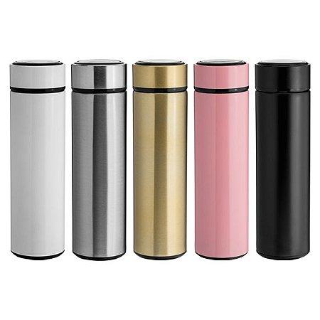 NP - GARRAFA TÉRMICA SLIM 450ML Isolamento térmico a vácuo, exclusivo filtro em aço inoxidável. Design minimalista e ergonômico.