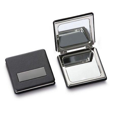 ES7396 - Espelho de bolsa em metal acabamento em couro sintético