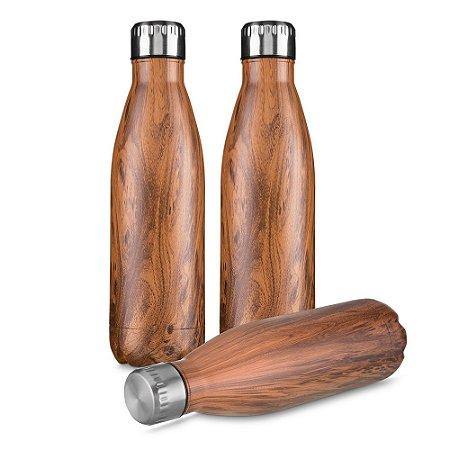 GA4600M -  Garrafa aço inoxidavel 750 ml textura imitação madeira.
