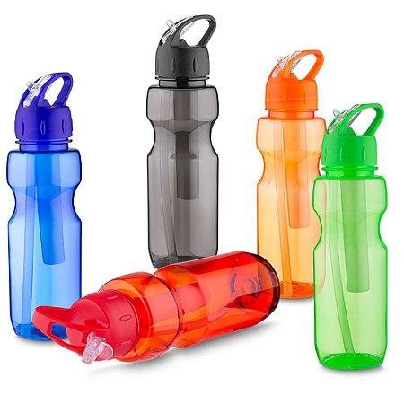 GA5300 - Garrafa plástica 700 ml com porta gelo e canudo, plástico utilizado AS (estireno de acrilonitrilo).