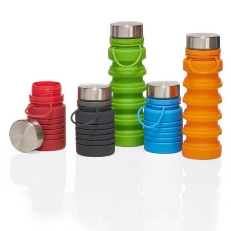 GA5700 - Garrafa em silicone retrátil com alça, tampa de metal. Capacidade 500ml. BPA FREE