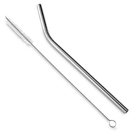 CN001 - Kit canudo em aço inox com 02 peças: Canudo curvo e escova de limpeza.