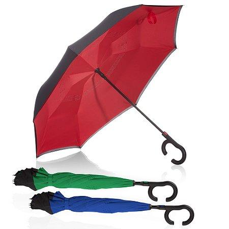 GC1050 - Guarda-chuva invertido com cabo plástico e haste de metal, botão acionador para abertura automática, tecido ponge chinês, seda crua poliéster, oito varetas