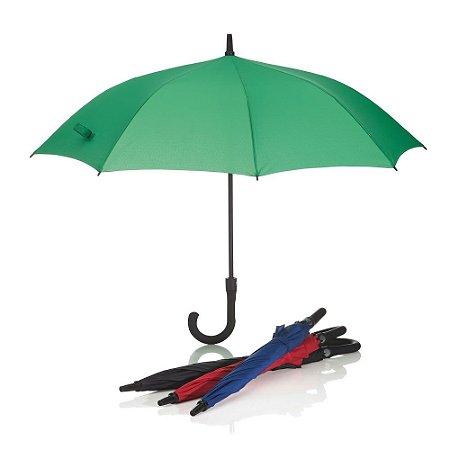 GC1060 - Guarda-chuva com cabo plástico emborrachado e haste de metal, botão acionador para abertura automática, oito varetas.