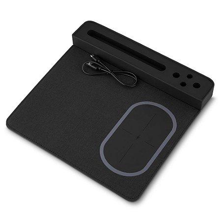 MP250 - Mouse pad com carregador por indução, com porta lápis e suporte celular, material PU - poliuretano e poliester. (NÃO ACOMPANHA CANETA E SMARTPHONE)