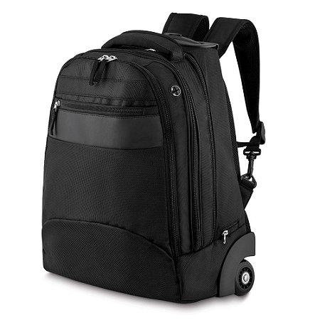 MC204 - Mochila executiva com rodinha, tecido nylon polyester, detalhe couro sintético, bolso frontal, dois compartimentos, bolso interno, porta notebook, porta cartão e canetas, toda forrada, alça de mão, alças para as costas com espuma.