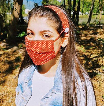 Kit Máscara de Proteção e Tiara - Poa Vermelho e branco