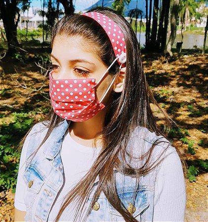 Kit Máscara de Proteção e Tiara - Poa Pink e branco