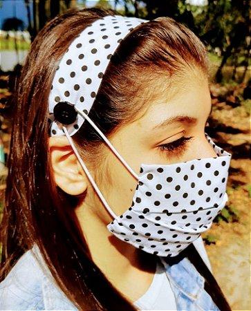 Kit Máscara de Proteção e Tiara - Poa Branco e Preto