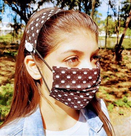 Kit Máscara de Proteção e Tiara - Preto e Branco c/ coroa