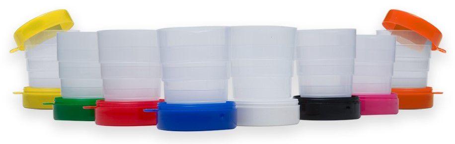Copo retrátil 200 ml de Plástico c/ tampa porta comprimido e base colorida