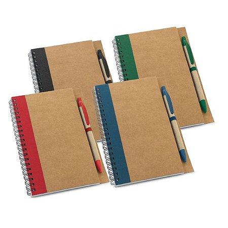 SP 93715 Caderno Papel kraft - Capa dura c/ 60 folhas não pautadas de papel reciclado. Incluso esferográfica. 130 x 177 mm