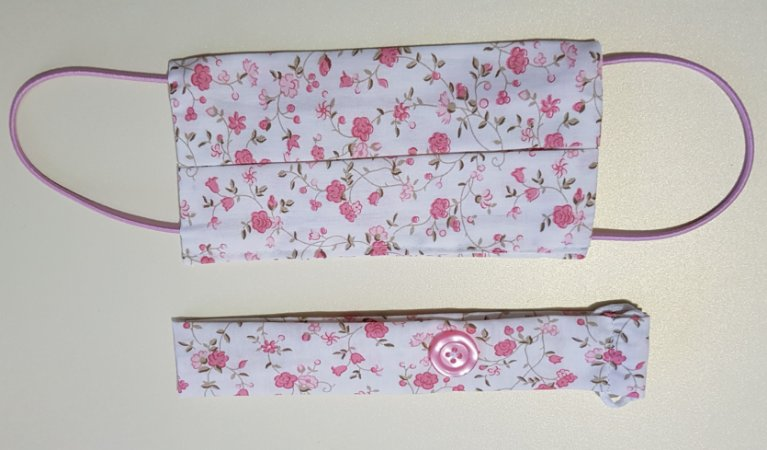 Kit Máscara de Proteção e Tiara - Floral Rosa Bebê