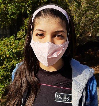 Máscara 3D Tecido Estampado Dupla - Poa Rosa Bebê c/ Branco