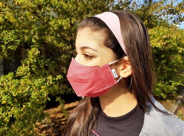Máscara 3D Tecido Estampado Dupla - Poa Vermelho