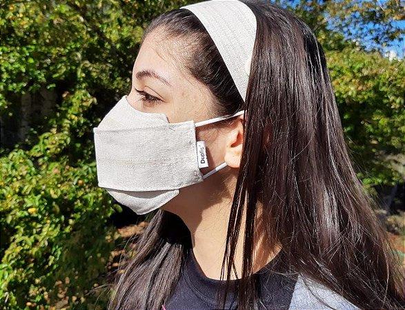 Kit Máscara 3D de Proteção e Tiara - Dupla - Tecido Linho