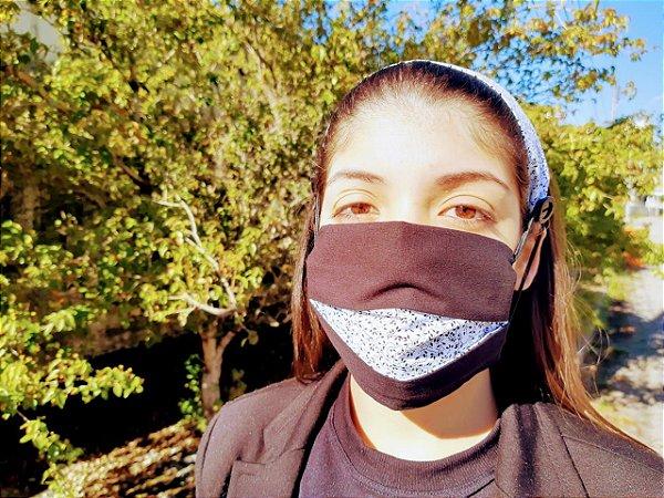 Kit Máscara de Proteção e Tirara - Preto c/ Branco
