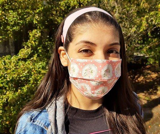 Máscara de Proteção Tecido Estampado - Dupla - Floral Rosa