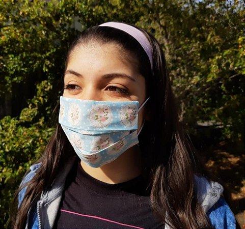 Máscara de Proteção Tecido Estampado - Dupla - Floral Azul