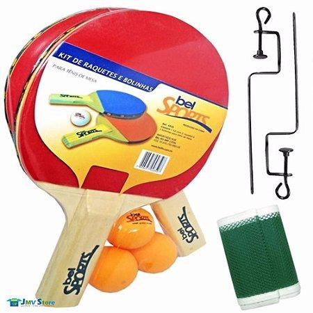 56c6ae04a Kit Ping Pong Tênis Mesa Raquetes Rede Bolinhas Bel Sports ...
