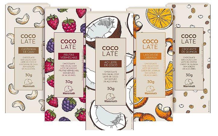 Kit Degustação CocoLate 55% Cacau com 10 unidades (5 sabores)