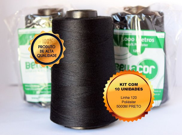 Kit promocional - 10 unidades linha 120 5000m cor preto