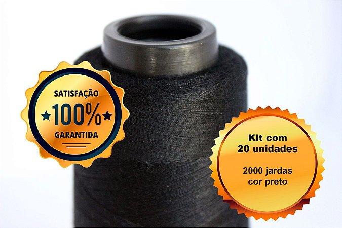 Kit com 20 unidades linha 120 2000 jardas - preto