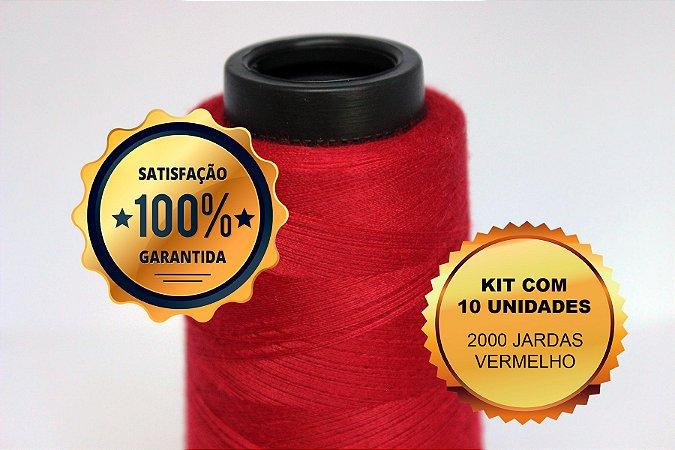Kit com 10 unidades linha 120 2000 jardas - vermelho 0003