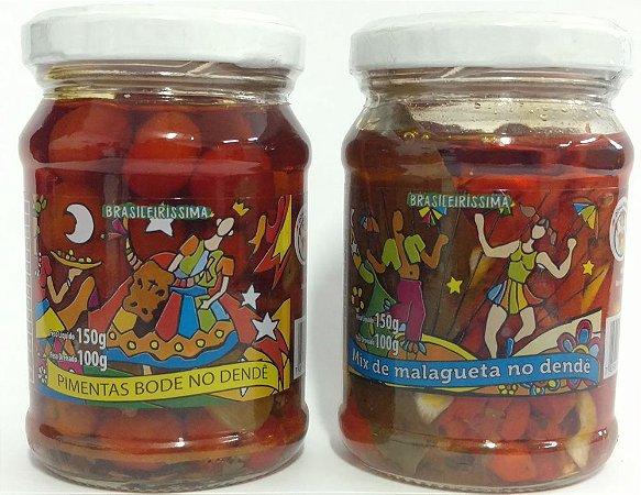 Kit Conserva de Pimentas Brasileirissima - Bode e Malagueta no Azeite de Dendê 150g