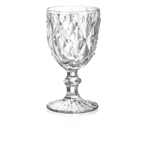 Taça Para Vinho De Vidro Diamond  Transparente Bon Gourmet  245ml Avulsa