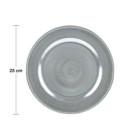 Sousplat para Chá Plástico Prateado 25cm 61138