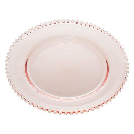 Prato de Cristal para Sobremesa Pearl Bolinhas Avulso Rosa 20 cm 28431