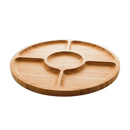 Petisqueira com 4 Divisórias de Bambú Round 30cm 1349