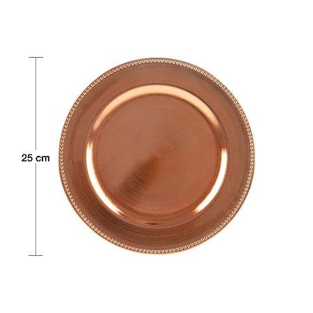 Sousplat para Chá Plástico Rosé Gold 25cm 61139