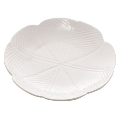 Travessa Cerâmica Banana Leaf Branco  27,5cm 4522