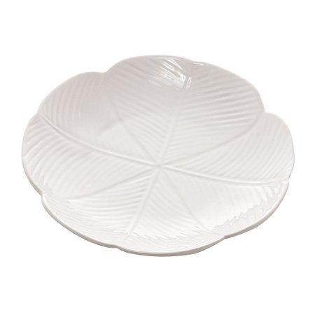 Prato Decorativo Cerâmica Banana Leaf Branco Médio 20cm 4520