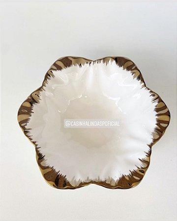 Bowl Tijela Flor Borda Dourada 19,5x6cm 052