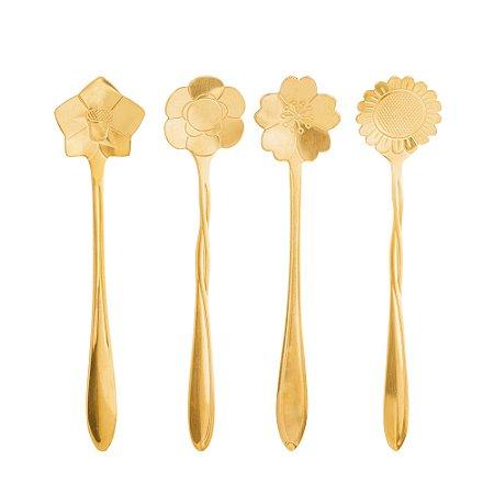 Jogo 4 Colheres Chá Inox Flores Dourado 12,5cm 28485