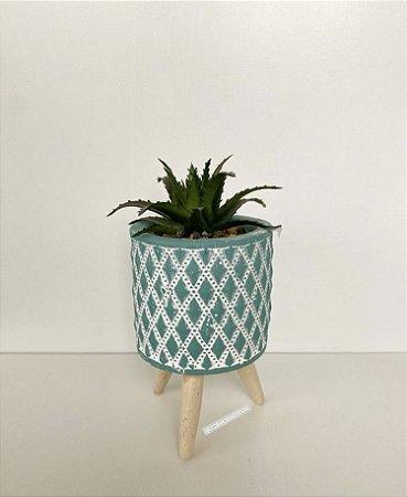 Mini Vaso Concreto Com Suculenta e Suporte Madeira Verde